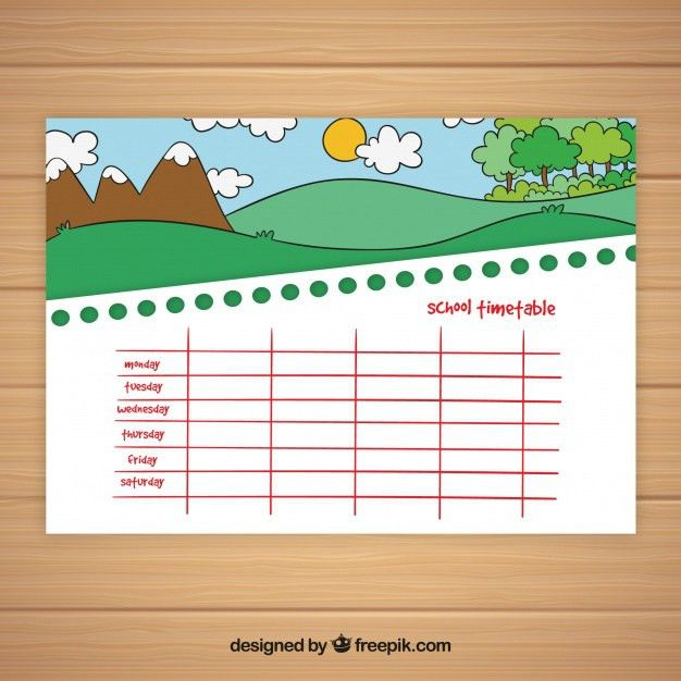 School timetable template nature theme Vector | Free Download