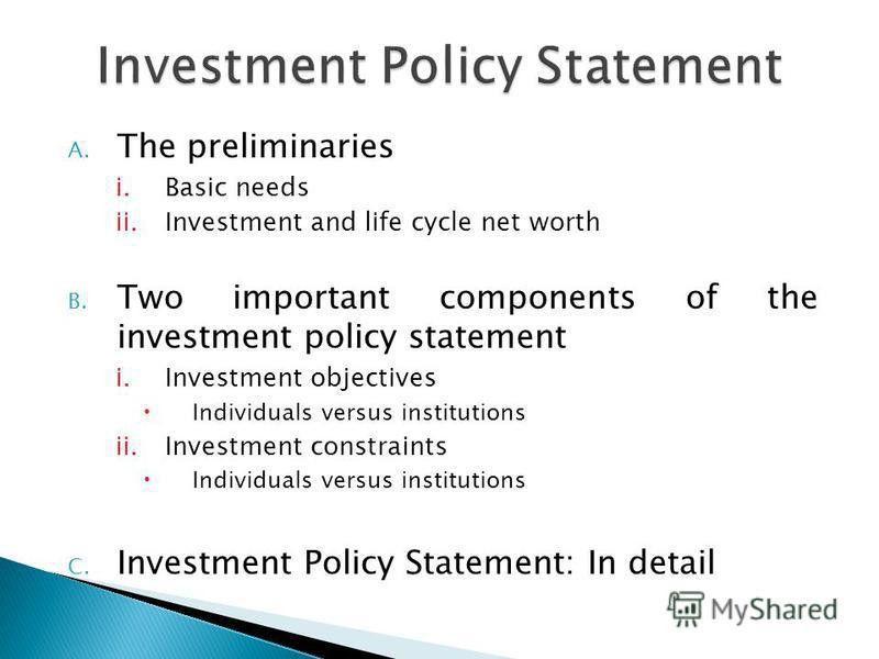"Презентация на тему: ""Investment Policy Statement Otto Khatamov ..."