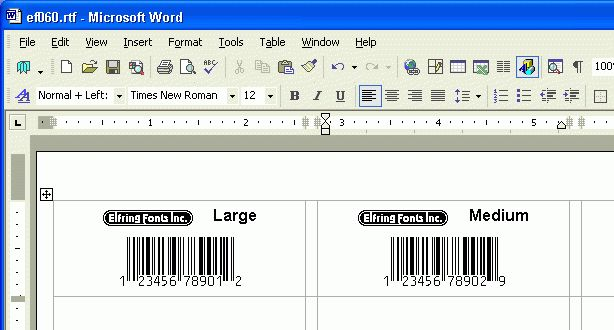 Print bar code labels using your word processor a barcode font ...