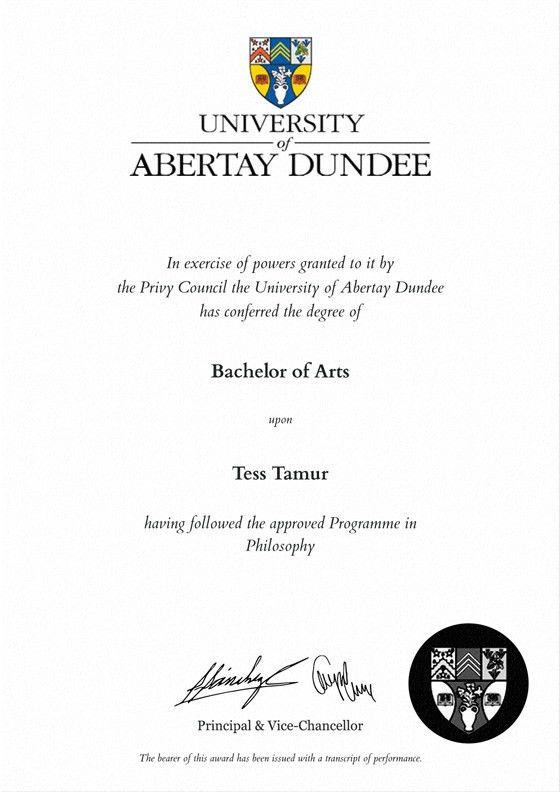 Frame for degrees from University of Abertay Dundee | University ...
