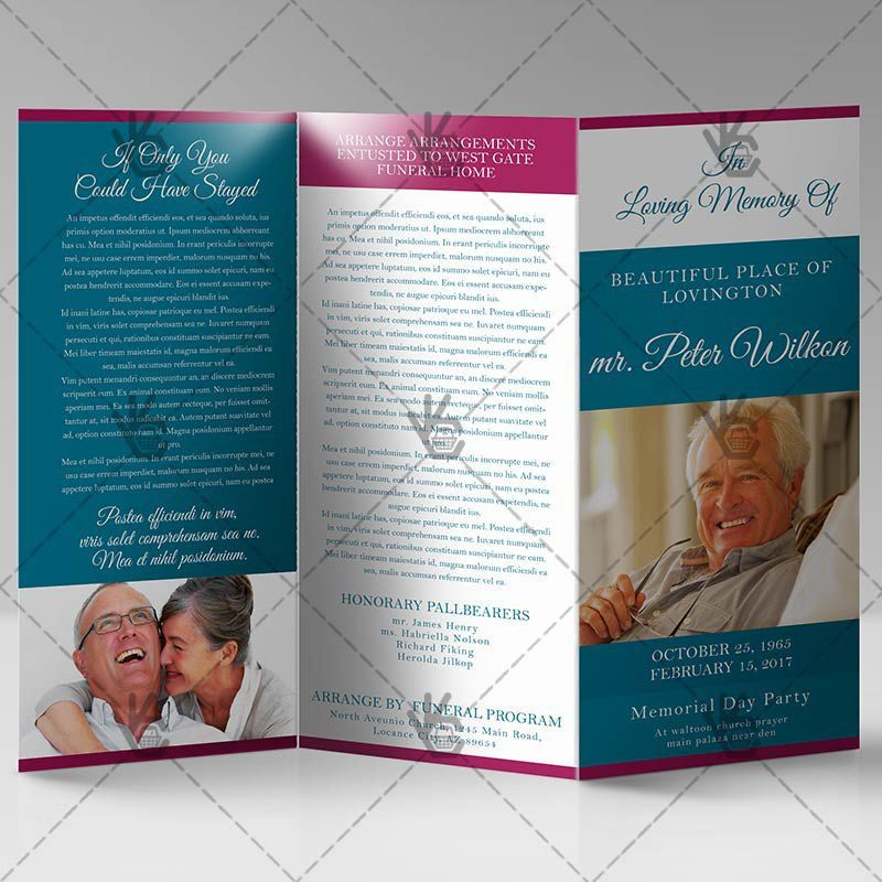 Printable Funeral Program - Premium Tri-Fold Brochure PSD Template
