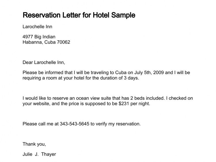 Letter of Making Reservation