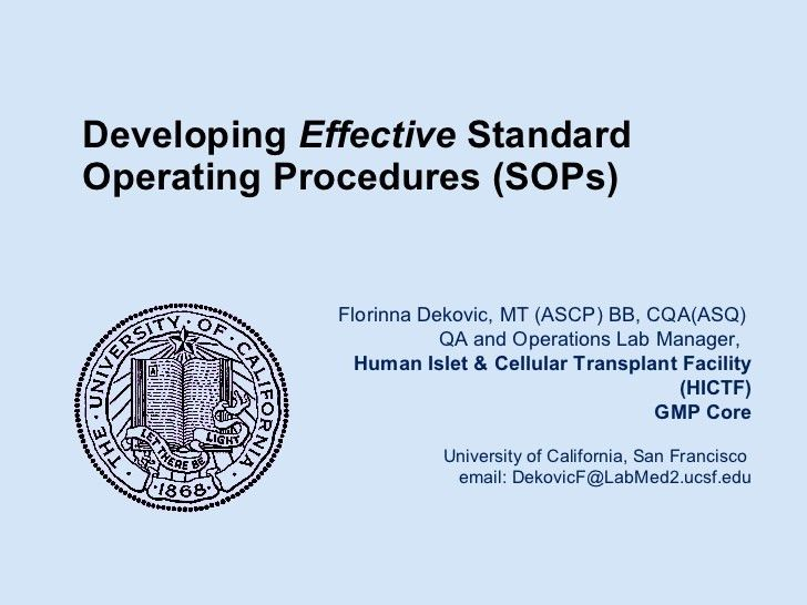 Developing Effective Standard Operating Procedures
