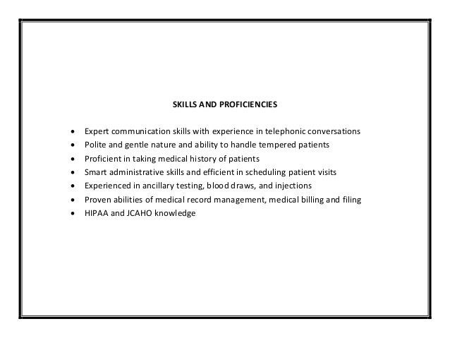 skills for a medical assistant