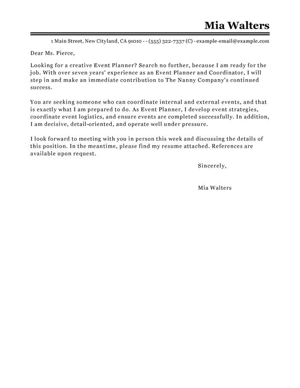 Best Event Planner Cover Letter Examples | LiveCareer