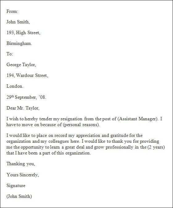 Resignation Letter Closing