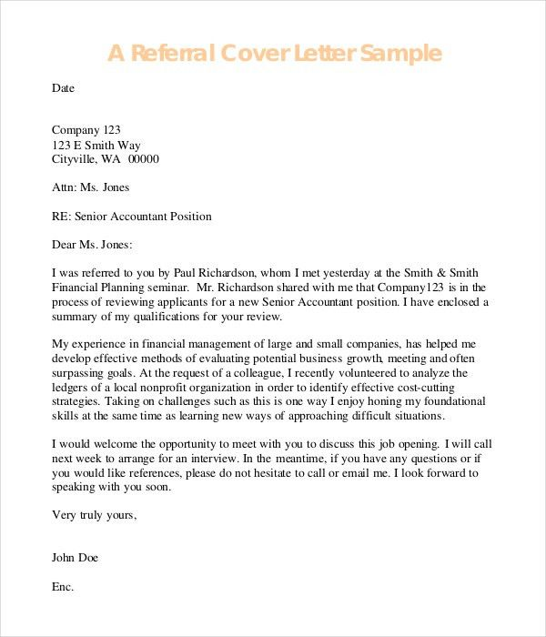 Referral Cover Letter Best Resume Collection inside Cover Letter ...