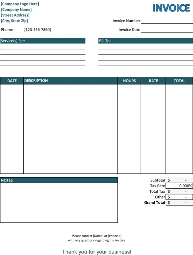 blank invoice template download
