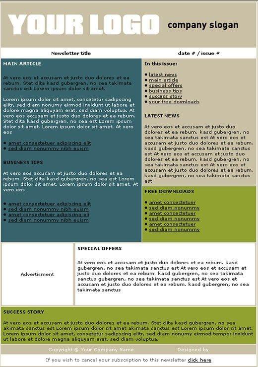 Free Newsletter Templates | make|newsletters | Pinterest ...