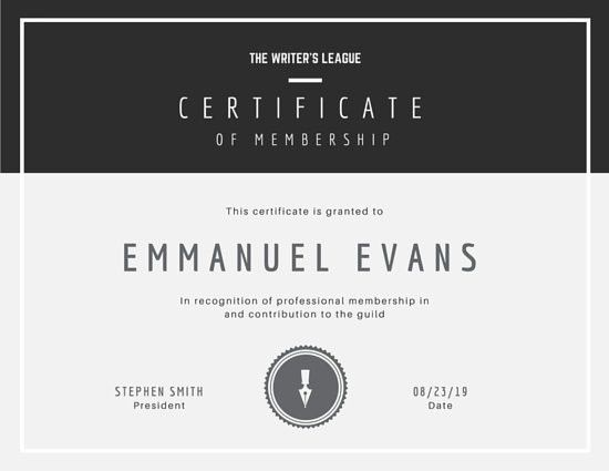 Monochromatic Membership Certificate - Templates by Canva