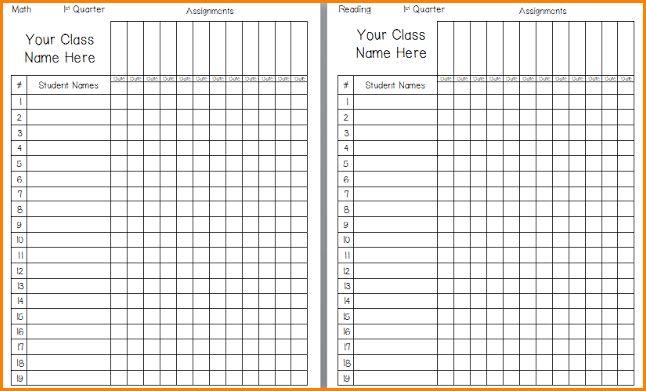4+ printable gradebook template | writable calendar