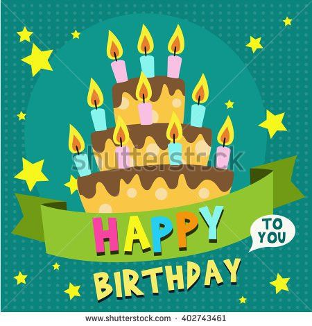 Happy Birthday Card Design Template Image Stock Vector 402743581 ...