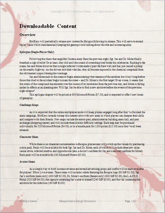 Relapse Game Design Document   Leda Clark: A Very Awkward Girl in ...