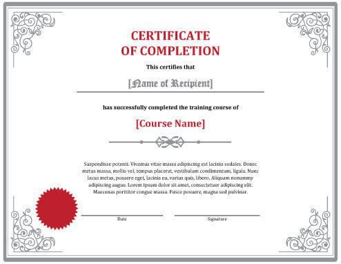 7 Certificates of Completion Templates [Free Download]