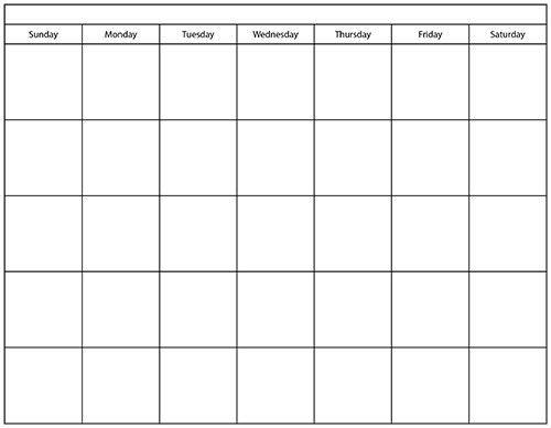 Blank Calendar Template   blank calendar printable