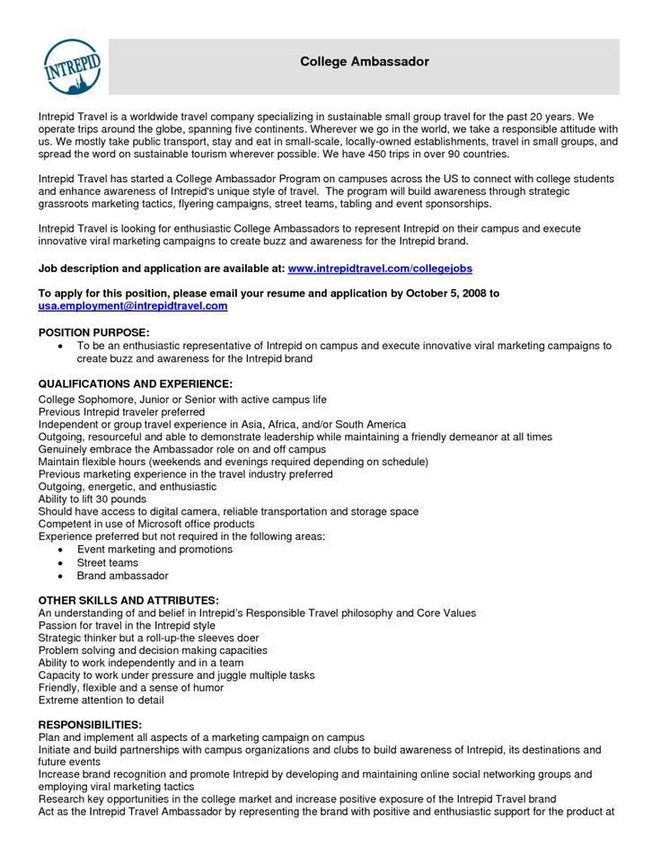 Awesome Brand Ambassador Job Description For Resume 73 In How To ...