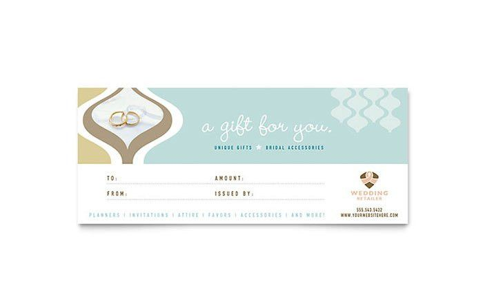 Wedding Store & Supplies Gift Certificate Template - Word & Publisher