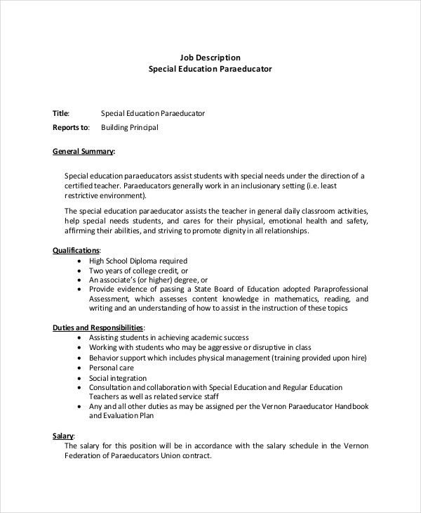 Paraeducator Resume Template - 5+ Free Word, PDF Documents ...