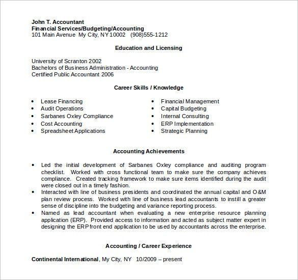 Sample Accountant Resume - 12 + Download Free Documents in PDF, Word