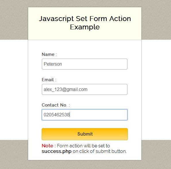 Set JavaScript Form Action | FormGet