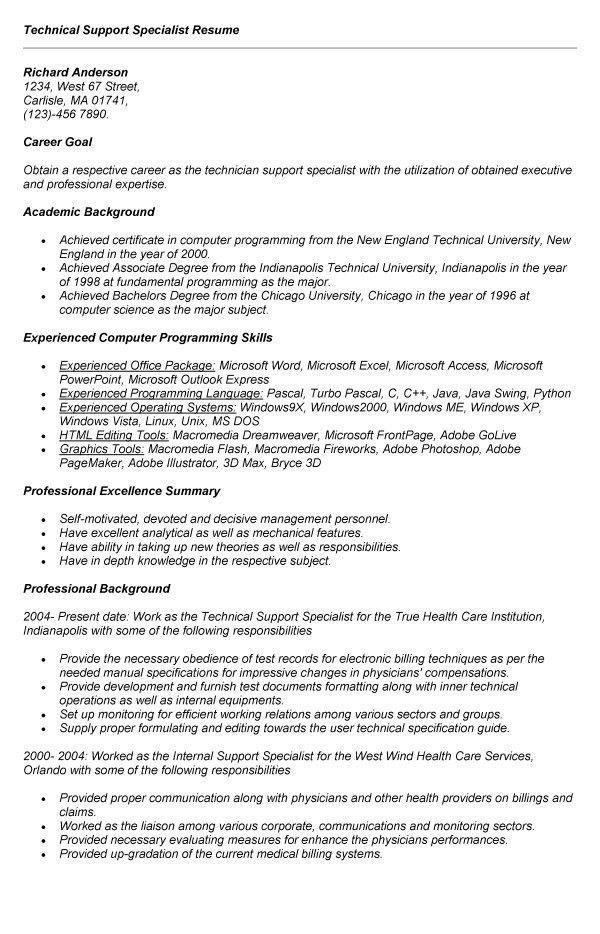 Technical Support Specialist Resume Sample - Gallery Creawizard.com
