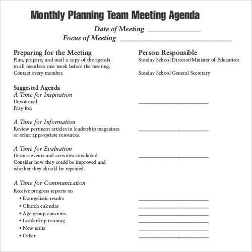 Staff Meeting Agenda Template. Church Staff Meeting Agenda ...
