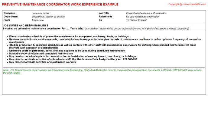 Preventive Maintenance Coordinator Job Title Docs