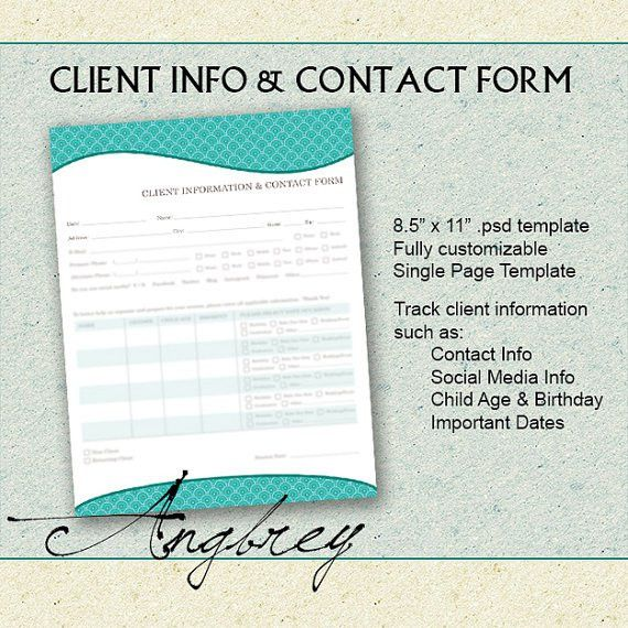 Client Info & Contact Form for Photographers Client