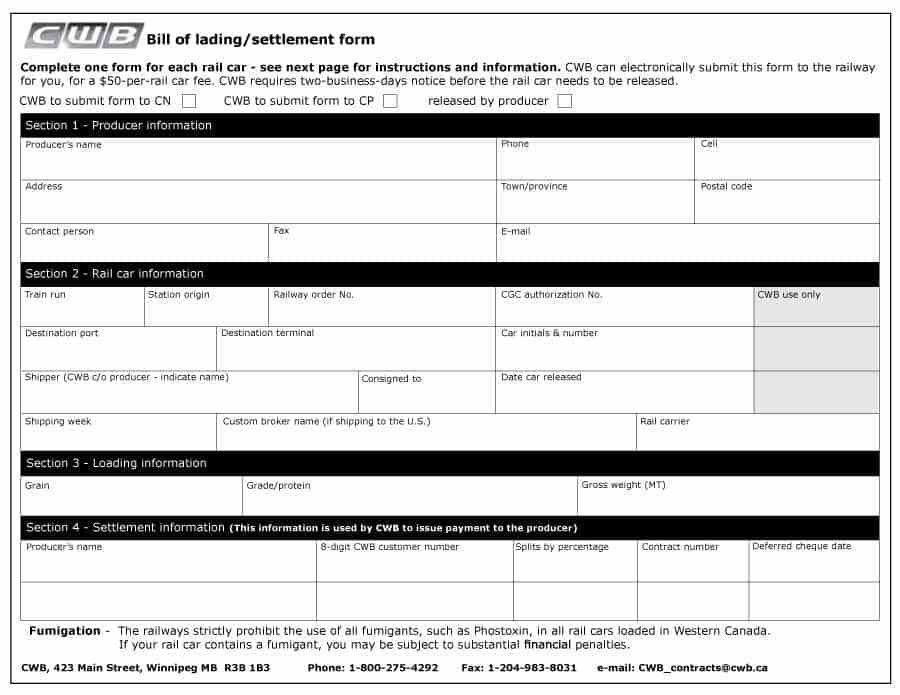 Blank Bill Of Lading. 6+ Bill Of Lading Template | Survey Template ...