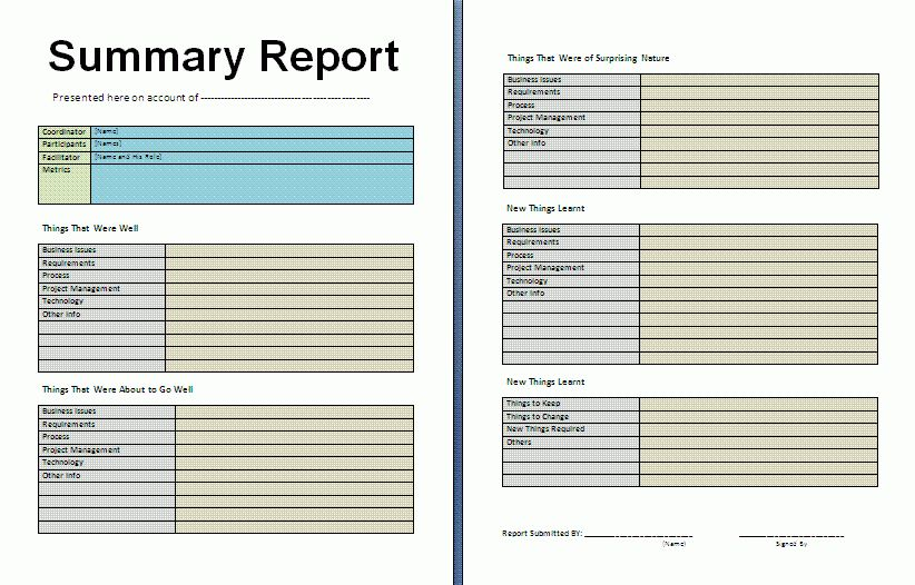 Summary Report Template | Download It Free