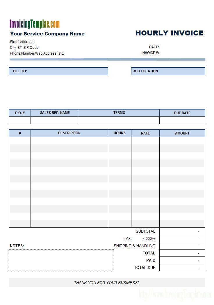 Invoice Template For Hours Worked Free