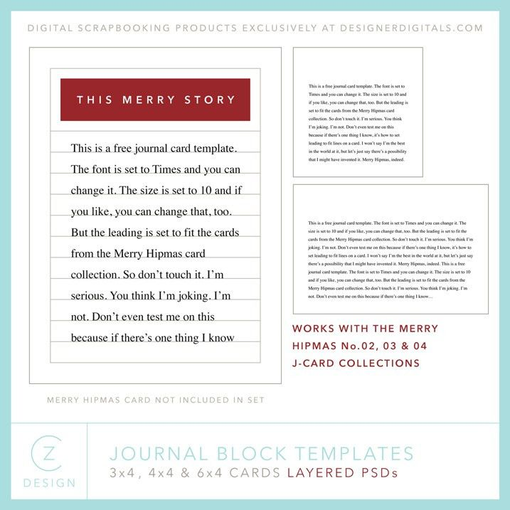 A free journal card template package for your upcoming holiday ...