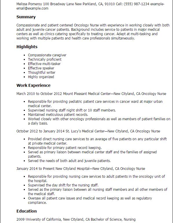 Fashionable Inspiration Oncology Nurse Resume 2 Professional ...