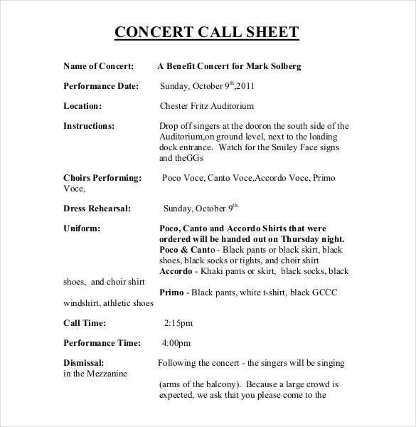 Call Sheet Template - 21+ Free Word, PDF Documents Download ...