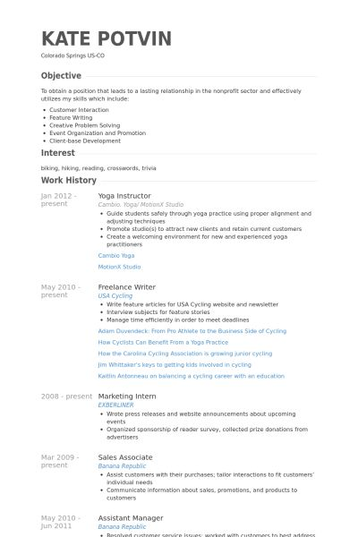 Yoga Instructor Resume samples - VisualCV resume samples database