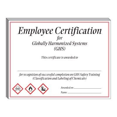 GHS Training Certificate from Emedco.com, Stock items ship TODAY ...