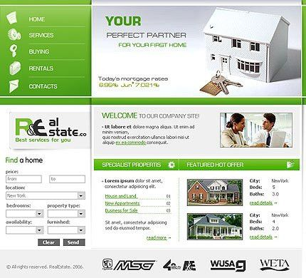 Real Estate Website Template #225 low prices web page design at ...