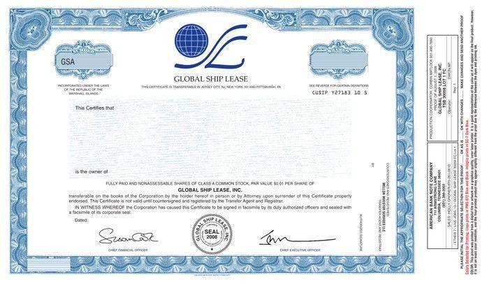 Specimen Class A common share certificate