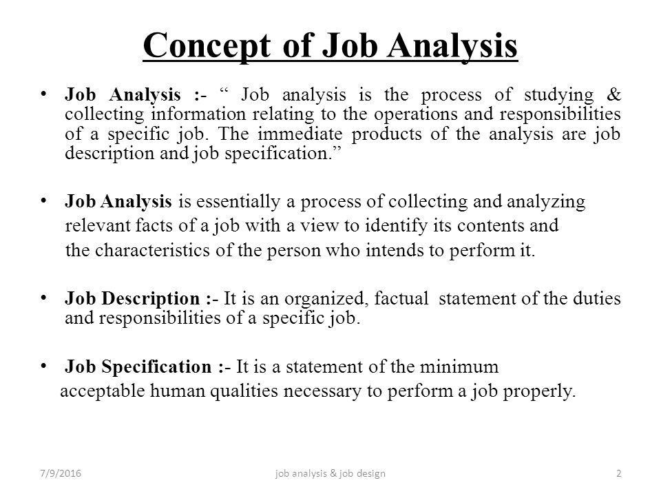 JOB ANALYSIS AND JOB DESIGN - ppt video online download