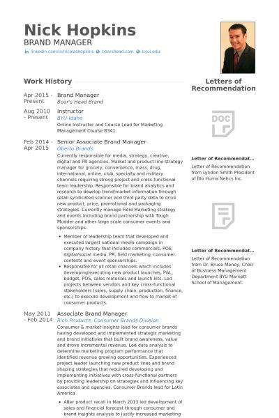 Brand Manager Resume samples - VisualCV resume samples database