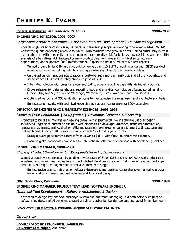 Sample Software Engineer Resume - Software Engineering Resume ...