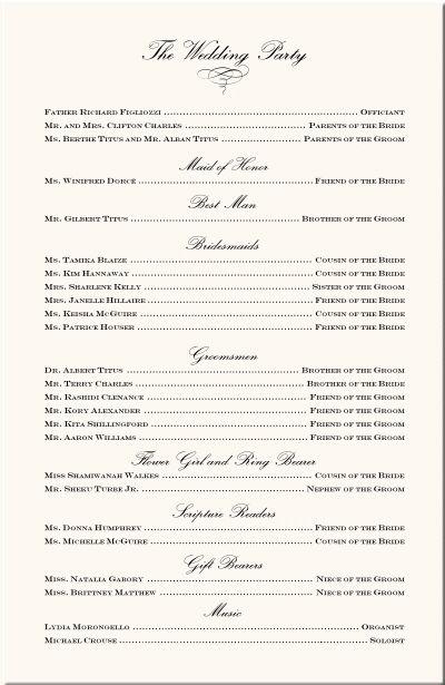 Wedding Program Examples-Wedding Program Wording-Wedding Ceremony ...