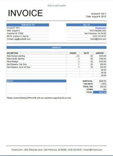 Invoice Xls | free printable invoice