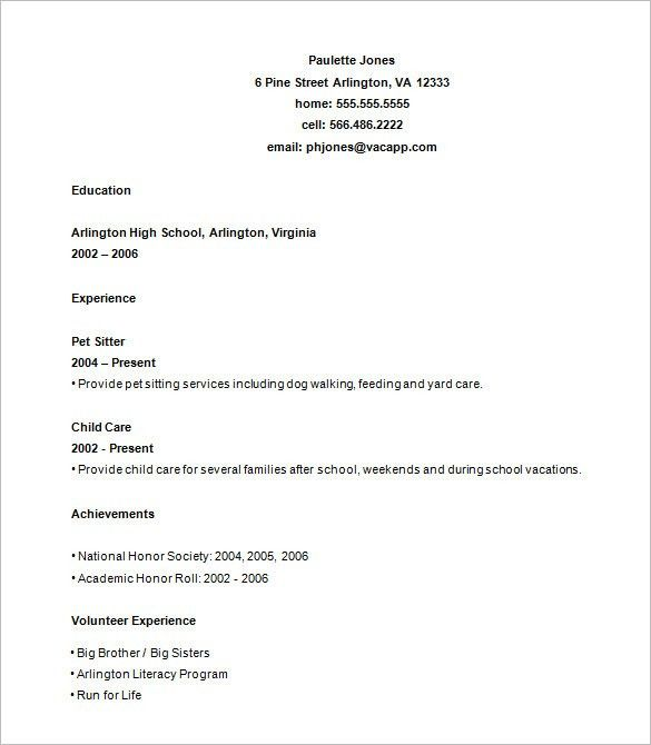 High School Graduate Resume Template. Resumes For Highschool ...