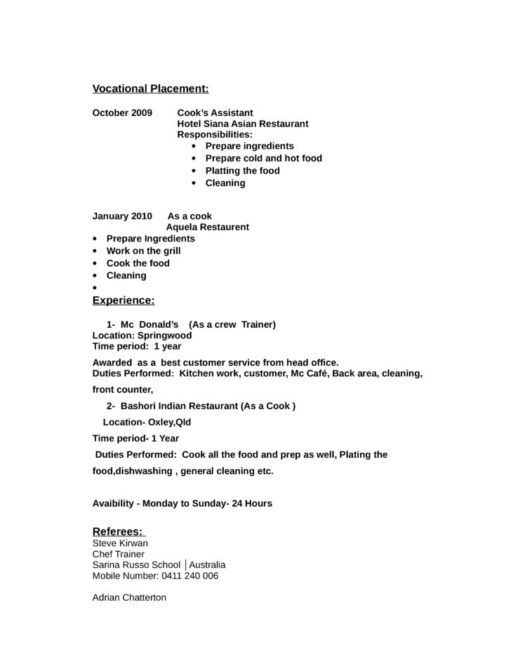 line cook job description for resume
