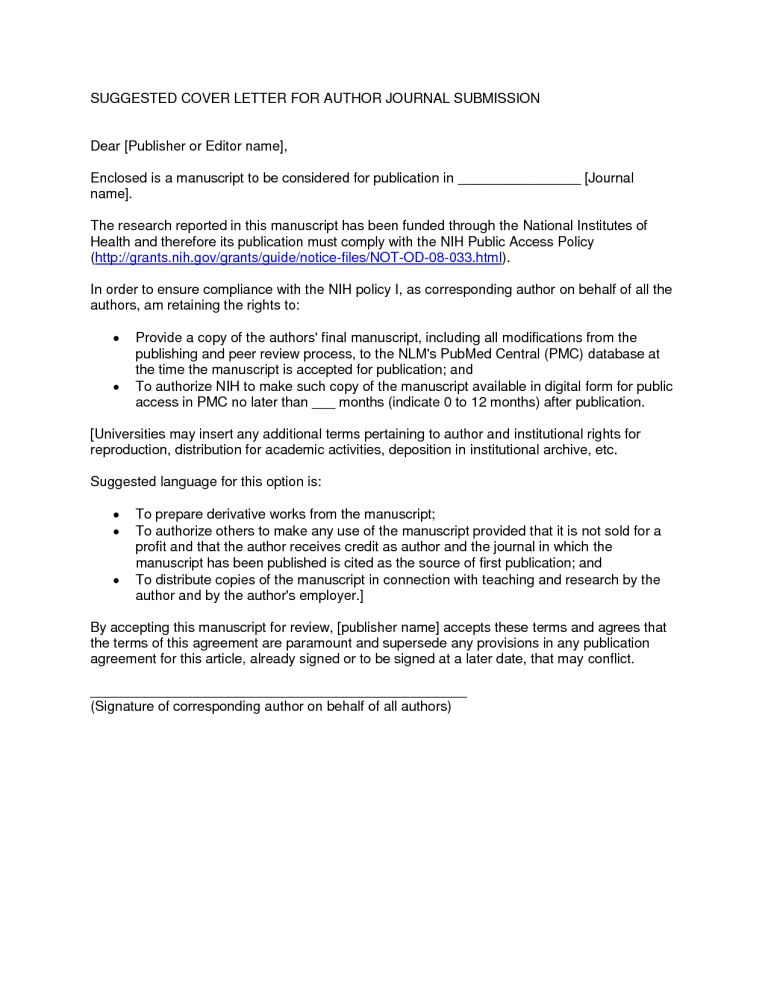 Luxurious And Splendid Cover Letter For Journal Submission 6 ...
