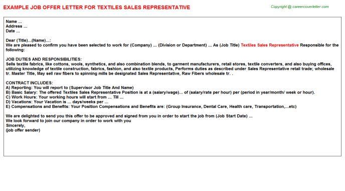 Textiles Sales Representative Offer Letter