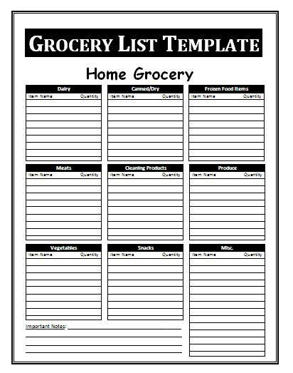 Grocery List Template | Free Business Templates