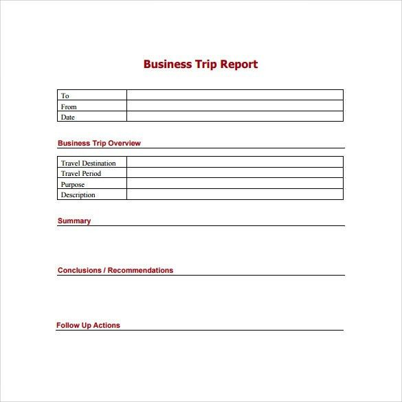 Sample Trip Report   12+ Documents In Word, PDF