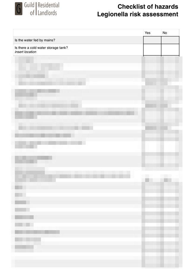 Legionella Risk Assessment Simple Checklist | GRL Landlord Association